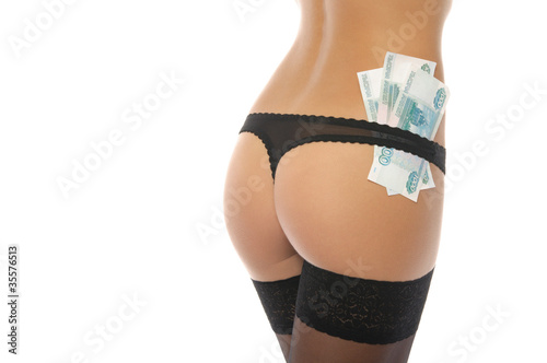 Sexy ass in black panties and money
