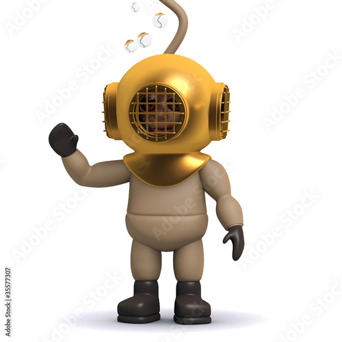 3d Deep sea diver waving
