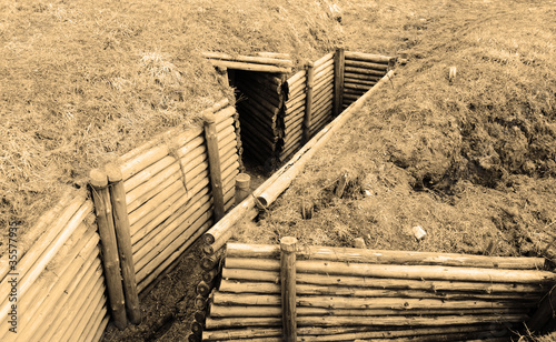 Trenches of  World War II. Sepia.