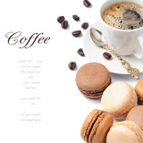 Fototapety Coffee and French macaroons