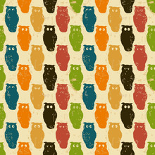 Halloween . Retro pattern with owls in grunge paper