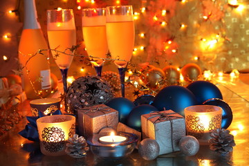 Bauble,gifts,candle lights and champagne.