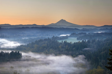 Foggy Sunrise Over Sandy River and Mount Hood