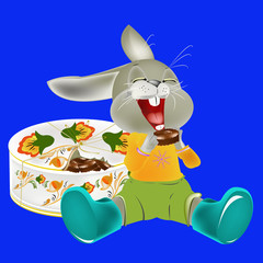 The cheerful hare likes to regale on sweets