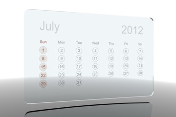 3D Glass Calendar - July 2012