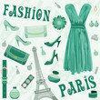 Paris fashion set. vector, color full, no gradient