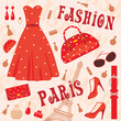 Paris fashion set. vector, color full, no gradient