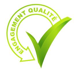 engagement qualité sur symbole validé vert