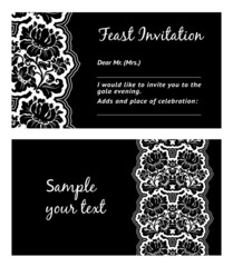 Flower lace, greeting card, space for your text, vector