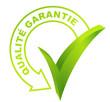 qualité garantie sur symbole validé vert