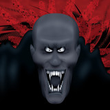 Nasty vampire with cloak on red action background poster