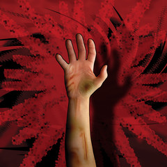 Wounded hand on action red