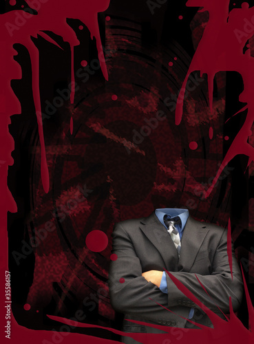 Headless businessman on blood red poster