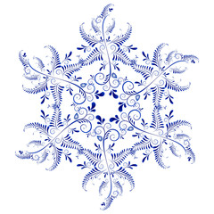 Russian ornaments. New Year's snowflake.