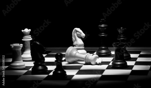 Chess game in black and white