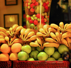 fruit on a shop counter in barcelona for preparation of natural