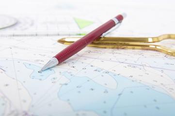 Seekarte Zirkel Minenbleistift Plotter Lineal