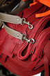 Closeup on leather belts for handbags