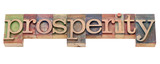 prosperity word in letterpress type poster