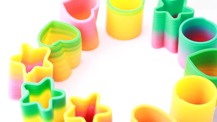 Many plastic toys-springs