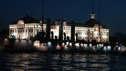 Cruiser Aurora on Neva River night