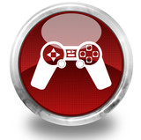 Videogames symbol glossy icon poster