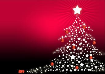 Arbol de navidad con estrellas y bolas
