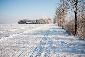 Dutch farmland in winter time covered by snow