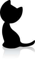 Cute little kitten silhouette with shadow