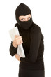 female thief in black clothes and balaclava steal documents