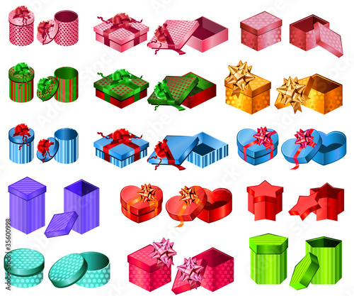 Big collection of gift boxes. Different shape and color.