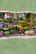 Ripped paper flower market postcard