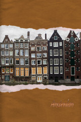 Amsterdam houses ripped paper postcard