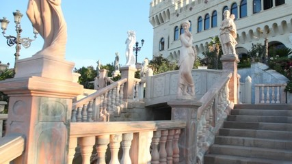 Instep motion on stone stairs in park of castle