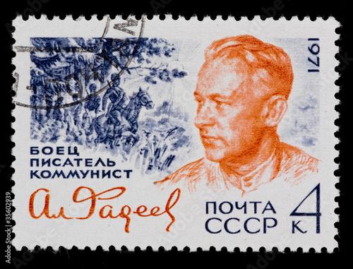 Poster Postal stamp. A. A. Fadeev, 1971