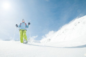 Snowshoeing (copy space)