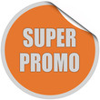 Sticker orange rund curl oben SUPER PROMO