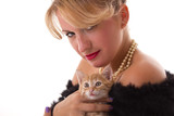 elegant woman with cat