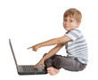 Boy with laptop isolated on white background