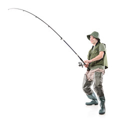 Full length portrait of a fisherman holding a fishing pole