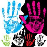 Fototapete Hand - Totenkopf - Zeichen / Symbol