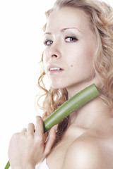 Beautiful young woman with aloe