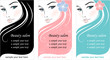 Stylish face of woman. Template design card