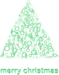 Abstract green christmas tree greeting card vector