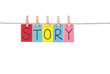 Story, Wooden peg  and colorful words