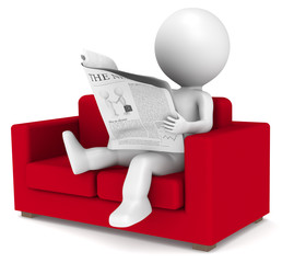 3D little human character sitting in the sofa reading the news.