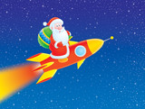 Santa Claus flies on a rocket