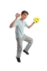 Jumping male teen Drive L Plates