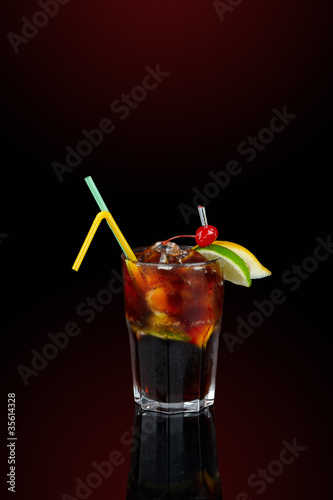 Cola coctail with decoration