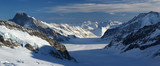 panoramic view of the alpine mountains covered with snow
